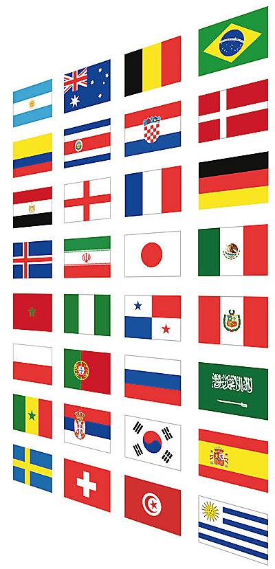 Flagi uczestników Mistrzostw Świata 2018